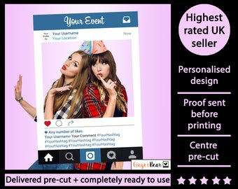 PREMIUM Personalised + Printed Instagram Selfie Frame - photobooth prop frame! For Weddings, Birthdays, Hen parties and any other event!