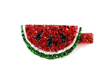 Watermelon Glitter Clip Bow for Baby Headband for Newborn Child Little Girl Adult Sparkly Yummy Melon Red White Green Black Bow