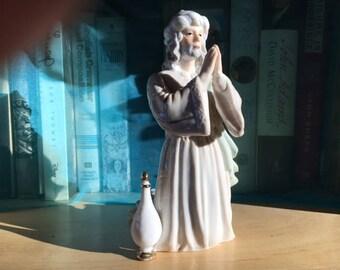"Wise Man, Prayer, Replacement, Nativity, Gift, Myrrh, Frankincense, Wise Men, Beautiful Figure, Enesco, Marked, 1989, 7"" Tall"