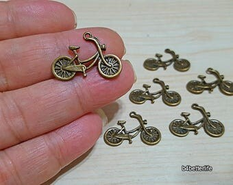 "Lot of 24pcs Antique Bronze Tone ""Bicycle"" Metal Charms. #BC1936."