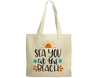 Beach Tote - Canvas Beach Bag - Beach Bag Canvas - Sea You at the Beach