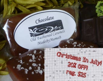Salted Chocolate caramels ~ Box of 32 extra creamy, gourmet, soft homemade caramels