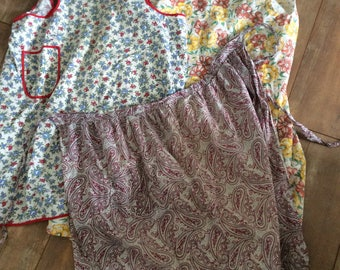 Three Country Kichen Aprons/ Paisley Apron/Bib Aprons/ Yellow Floral/Red White Blue Apron