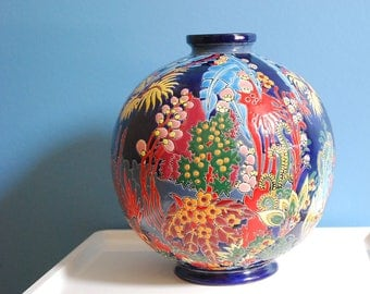 Stunning  Boule Coloniale  Art Deco Style Vase Originally Decorated by Maurice Paul Chevallier .
