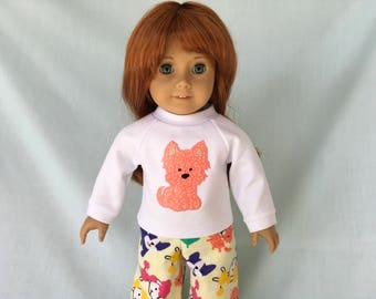 Yorkie Dog Pajamas for American Girl/18 Inch Doll