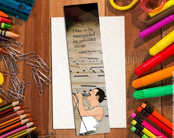Freddie Mercury bookmark, illustrated, cartoon style, 2x8 in. matte paper, high quality print