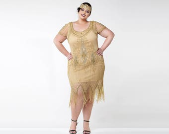Plus size art deco cocktail dress