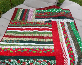 Christmas, Winter  Lap Quilt, Tablecloth, Housewarming Gift, REDUCED
