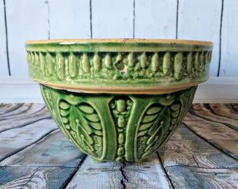 Brush McCoy, 1940's, Green Hanging Basket, Flower Pot, Vintage Pottery