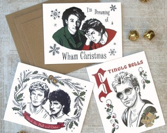 80's Christmas Card Pack/Box of 6/Holiday Cards/Wham/The Police/Hall and Oates/Linocut