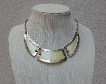 Vintage Yellow Bakelite Bib Necklace, Mod 1960s Statement Piece