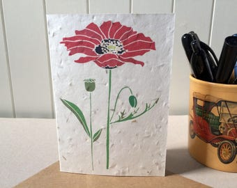 Field Poppy - Plantable Card - GYO Wildflower Garden - Seed Card - Red Poppy - Galentine's / Valentine's Day - Biodegradable Eco Card
