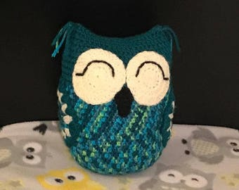 "Teal and ""peacock"" plush owl"