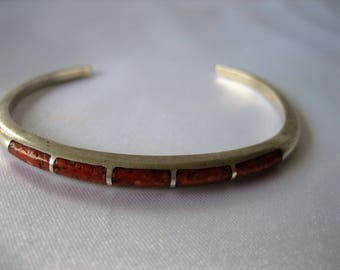 Vintage Native American Crushed Coral Mosaic Sterling Silver Cuff Bracelet 10.9 Grams