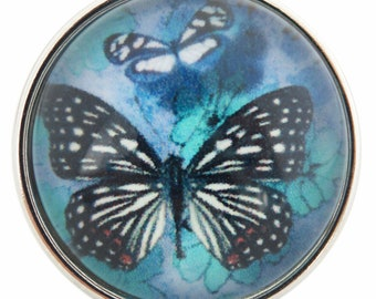 C0055  Art Glass Print Chunk - Blue Butterfly