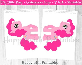 Pony Centerpieces - Centerpieces Pony - 7 inch Centerpieces MLP - Pony party - Pony printables