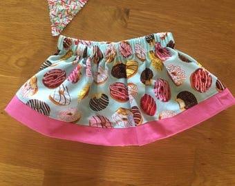 girls donut skirt, donut birthday party, birthday donut shirt, sprinkles pink raglan shirt, 1 2 3 4 donut birthday, party wear, do