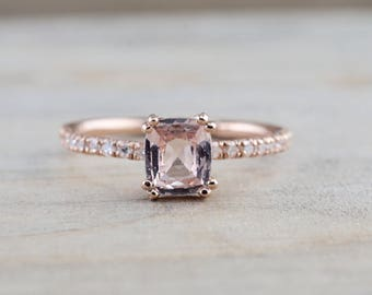 Natural Cushion Peach Sapphire set on 14k Rose Gold Diamond Ring Engagement Solitaire