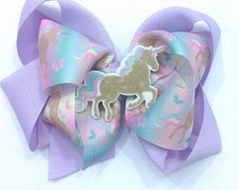 Unicorn Hair Bow , Unicorn Bow , Unicorn Headband , Purple Unicorn Bow , Gold Unicorn Bow , Unicorn Birthday , Unicorn Costume