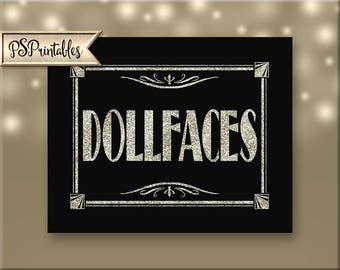Art Deco DOLLFACES printable sign - ladies room sign - restroom sign - Roaring 20's bathroom sign, Great Gatsby Sign - black glitter silver