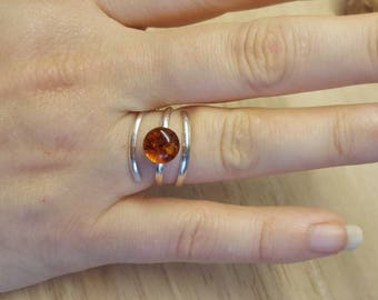 Spiral Amber Ring. Triple band ring. Reiki jewelry. Adjustable ring uk. Pressed Russian amber