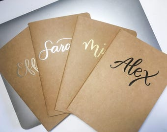 Custom Name【Embossing】Kraft Paper Journal / Unlined Notebook / A5 60 pages
