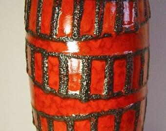 huge red Scheurich pottery floor vase black lava glaze pattern 53 cm