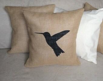 SALE Hummingbird Burlap Pillow Cover