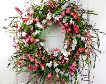 Wild Flower Wreath, Spring Wild Flower Wreath, Year Round Wreath, Summer Floral Wreath, Front Door Wreath, Grapevine Floral Wreath