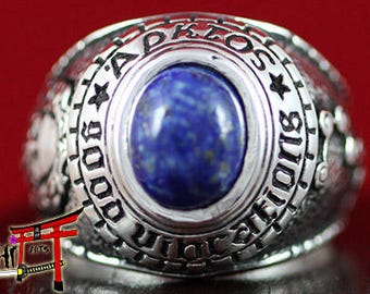 """Celestial Ring """"The Secrets of Da Vinci"""" With Gemstone Lapis Lazuli! Antique Magic Ring! 925 Sterling Silver - Shipping with TRACK NUMBER!!!"""