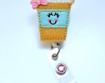 Coffee Latte - Name Badge Holder - Nurses Badge Holder - Cute Badge Reels - Unique  ID Badge Holder - Felt Badge - RN Badge Reel