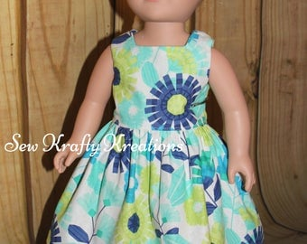 """18"""" Doll Dress - Blue and Green Flowers - American Girl/My Life/Our Generation"""