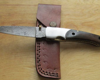 "Custom Made ""WARREN"" Damascus Steel Folding Knife, ROSEWOOD Handle, Liner Locking! JW17-7"