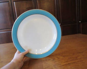 Vintage Pyrex Chop Serving Plate Turquoise with Gold Rim Milk Glass (VGVC)