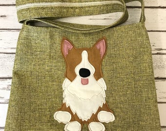 Corgi cross body or shoulder tote style bag in yellow /green textured fabric