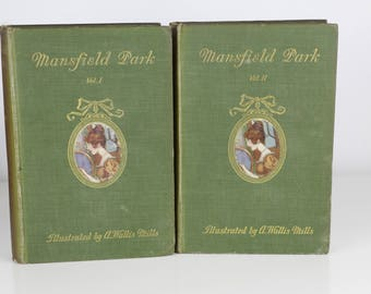 Mansfield Park by Jane Austen - 1909 - Vol 1 and 2 - First Editions - Owned by Suffragette