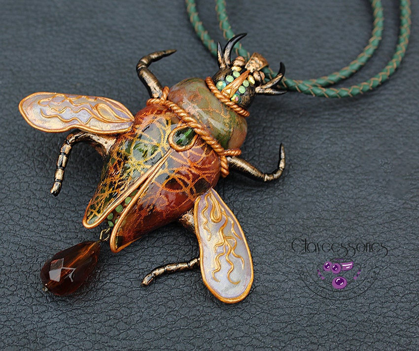 Beetle necklace / Insect necklace / Bug necklace / Beetle brooch  /Bug pin / Bug brooch / Scarab necklace /Scarab pin /Polymer clay necklace