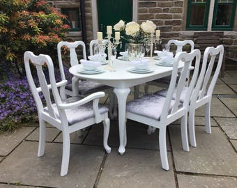 Queen Anne Extending Dining Table & 6 Chairs ~ Vintage Shabby Chic
