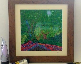 Woodland Stag Framed Print