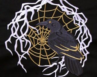Single hand towel - harlequin masquerade raven- EMBROIDERED bathroom towel 15 x 25 inch (38 x64 cm)