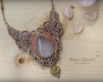 Tribal Boho Gypsy Necklace with Rose Quartz