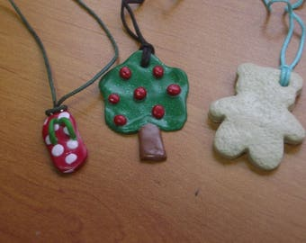 SET OF 3 POLYMER CLAY PENDANTS