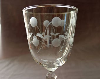 "Set of 8 Libbey Cut Glass Carlton ""Dots"" Wine Glasses/Water Goblets ~ 7"" Tall ~ 10 ozs. ~ c. 1955 ~ Etched"