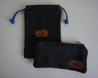 Jeans clutch and jeans pouch, handbag