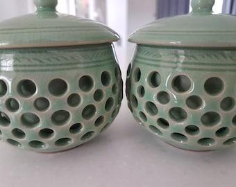 Korean  Celadon Lidded Tea Bowls
