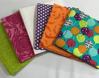 6 coordinating Fat Quarters for quilting and crafts.........NEW.........100% Cotton