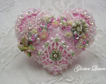Crazy quilt heart pin in a sweet pink with vintage Swarovski rhinestone crystal