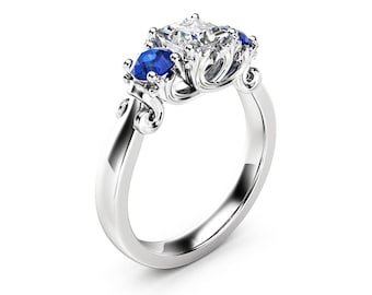 Three Stone Diamond Sapphire Engagement Ring Classic White Gold Promise Ring Princess Diamond Engagement Ring