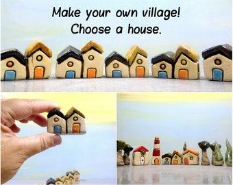 Miniature house, Farmhouse, Ceramic house, Rustic house, Little house, Ceramic village, DIY gift, It takes a village, Genuine gift, Art gift