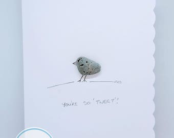 Irish PebbleArt Valentines Card - Handmade in Ireland with Irish pebbles - You're so tweet!